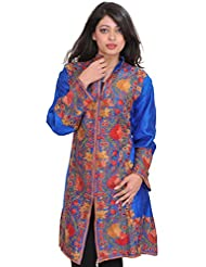 Exotic India Imperial-Blue Long Jacket From Kashmir With Floral Ari-Embro - Blue
