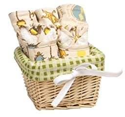 Trend Lab Dr. Seuss Bib and Burp Cloth Basket Gift Set, The Lorax, 7 Piece