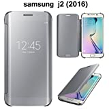FROGSHELL For Samsung J2 (2016) Model New Luxury Smart Clear View Mirror Flip Cover For Samsung J2 (2016) Silver