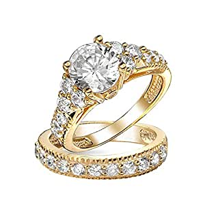 Bling Jewelry Art Deco Style Gold Plated CZ Engagement Wedding Ring Set 925 Sterling Silver