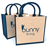 High Quality Jute Tote Bags [2 Pack] - 100% Natural Hessian & Reusable Burlap Totes - Ideal Grocery Store, Beach, Retail Shopping, Work, School Bag / Mesh Totes With Top Rope Handles - Ideal Easter Bunny Bag For Women, Girls, Teens & Kids - Eco-Friendly & Recyclable [Foldable Set of 2]