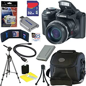 Canon PowerShot SX500 IS 16.0 MP Digital Camera (Black) + NB-6L Battery + 9pc Bundle 32GB Deluxe Accessory Kit