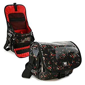 Rockabetty DSLR / Digital compact Camera case hipster oilcloth - Black - / compatible with (Casio Exilim EX-FH25 EX-P505 PRO Pro EX-F1, EX-P600, EX-P700 Pro EX-FH20 EX-TR100 EXILIM, TR100, Zoom, 1Z, S series: EX-S200, EX-S12, S10 Z series: EX-ZS10, ZS5, EX-Z37, EX-Z35, EX-Z26, EX-Z16, EX-Z300, EX-Z670, EX-Z840, EX-Z350, EX-Z2000, EX-Z550, Z330, Z25, Z450, Z400, Z280, 270, Z2,Z1, Z90, Z85, Z33, Z29 hi-Zoom, Z5100, H30, H20G, H5, H15, H10 Hi-Zpeed: ZR100, ZR1-, FH25, FH140, FS10, FC100, FH20, F1,