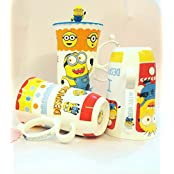 Satyam Kraft Minions Printed Ceramic Coffee Mug With Handle And Lid 1 Pcs Random Design - Heart Printed For Lover...