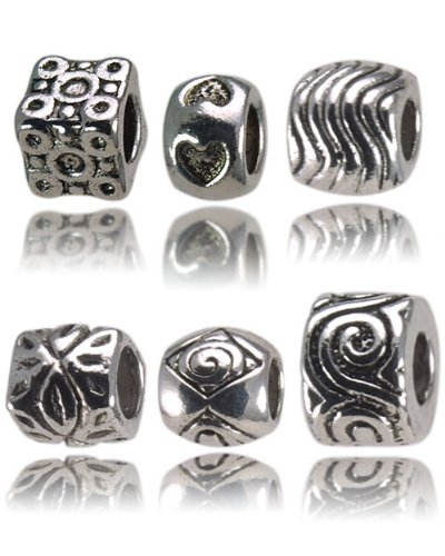 Balalabeads 'Aztec, Love, Waves, Leaves, Shells & Roma' - Six metal spacer beads. Slide-on and slide-off Charms.