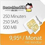 DeutschlandSIM SMART 500 [SIM und Micro-SIM] monatlich kündbar (500MB Daten-Flat mit max. 7,2 MBit/s, 250 Frei-Minuten, 250 Frei-SMS, 9,95 Euro/Monat, 15ct Folgeminutenpreis) O2-Netz