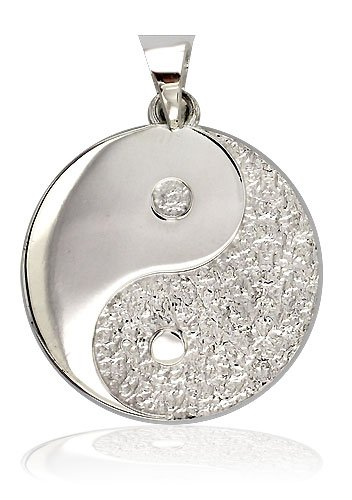 Large Yin and Yang Medallion Charm Pendant Jewelry in Sterling Silver, Twosided,Reversible,1 inch Picture
