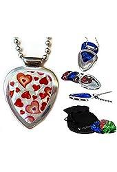 Little Hearts Pickbay Guitar Pick Holder Pendant Set for Your Sweetheart