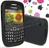 Fly-Lo® Uk - Silicone Gel Skin Back Case Cover For Blackberry Curve BB 8520 8530 9300 + Free Screen Protector (Black)
