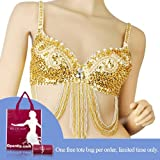 51CzDPydctL. SL160  BellyLady Belly Dance Tribal Sequined Bra Top, Size For 34C GOLD