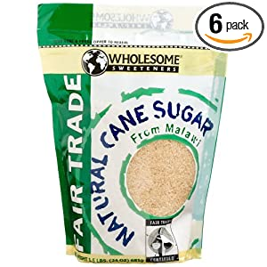 Wholesome Sweeteners Fair Trade Natural Cane Sugar from Malawi, 24-Ounce Pouches (Pack of 6)