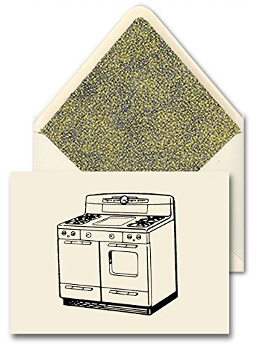 """Hand Made Cards And Designer Envelopes [Set Of 10] - Glorious Food """"Retro Kitchen Stove"""" Vintage Art Combines With Elegant Hand Made Paper With Simple Yellow Dots On Gray Pattern For A Subtle Modern Look And Specialty Materials To Create These Lovely Card front-138045"""