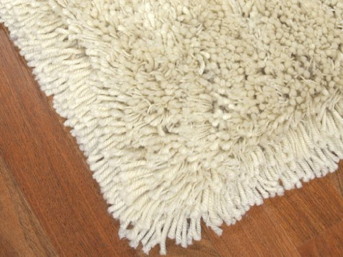 """Euro"" Shag Rug 5' x 8' - Ice, Soft and Extra Thick Twisted Acrylic Yarn, Hand Tufted, Cotton Backing"