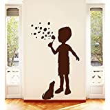 Decal Style Child And A Dog Wall Sticker Small Size-10*16 Inch