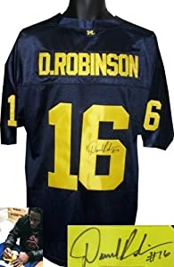 Denard Robinson signed Michigan Wolverines Blue Adidas Jersey