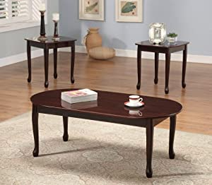3 Pc Cherry Wood Queen Anne Coffee Table And 2 End Tables Set