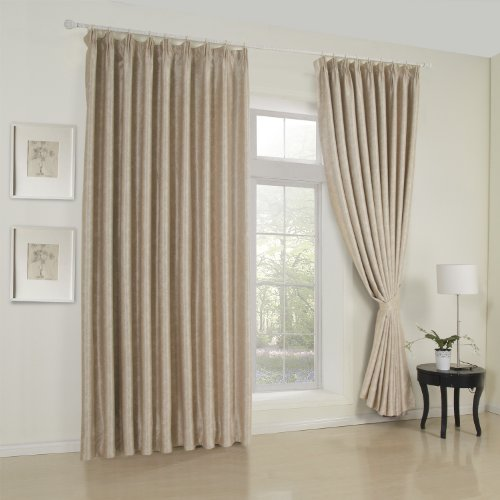 Lightinthebox (Two Panels) Double-Pleated Top Room Darkening Thermal Classic Embossed Beige Curtain Eco Friendly Energy Saving Window Sheer Panels, All Sizes Available