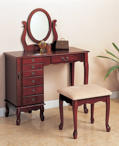 Beautiful Cherry Finish Storage Vanity Table Set w/Mirror & Stool