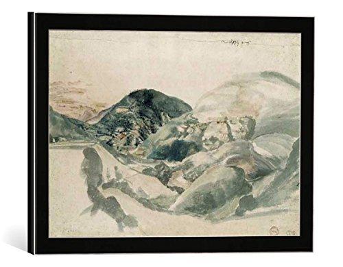 """Image encadrée: Albrecht Dürer """"Dürer, Welsches Gebirge"""" - impression d'art décorative, en cadre de haute qualité, 40x25 cm, Noir / Bord gris"""