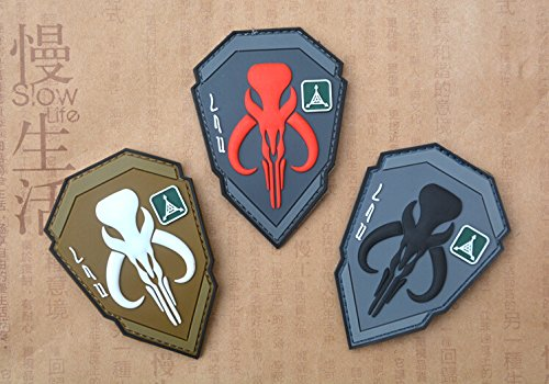 3pcs 3D PVC Star Wars Boba Fett MandalOrian Bantha Skull Tactical Rubber Velcro Patch