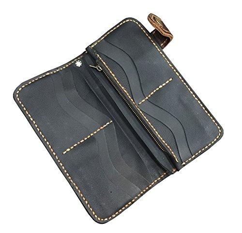D'SHARK Men's Vintage Biker Genuine Leather Billfold Wallet 2