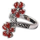 Handcrafted Rings Silver Jewellery Garnet Gemstone UK Size M 1/2by ShalinIndia