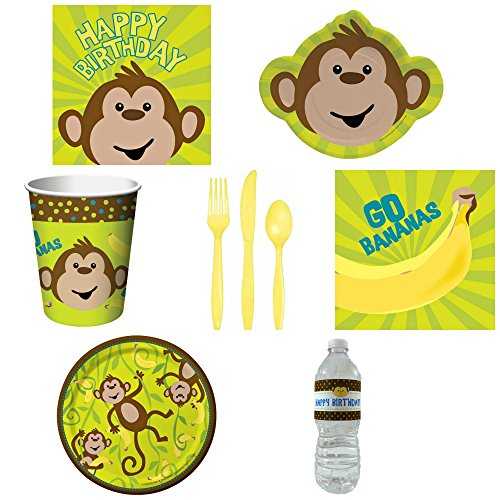 Creative Converting Monkeyin Around Tableware Paper Party Pack for 8 Guests and Custom Water Bottles (Green- dinnerware)