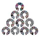 Nail Art Kit / Set d'accessoires pour manucure / pedicure pour déco d'ongles par Cheeky: 10 carroussels de nailart strass de différentes couleurs et de différentes formes: 15000 strass! Rapport prix /