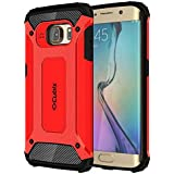 Cubix Defender Dual Layer Shockproof Bumper Back Case Cover For Samsung Galaxy S6 EDGE (Red)