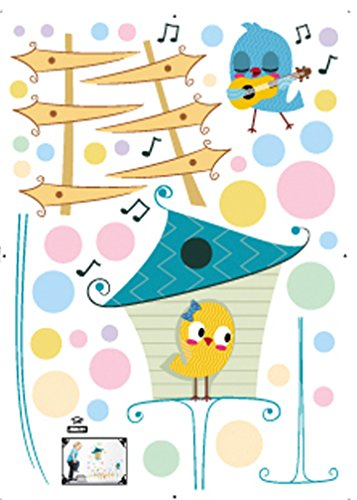 Damara Cute Music Birds Funny Yard Wall Stickers Children Room Home Decor - 1