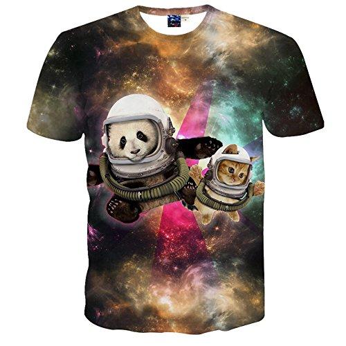 1911NCメンズ3Dプリント ヒップホップ おもしろ おしゃれ ファッション ロック スタイル 可愛いパンダ 猫 宇宙柄Tシャツ 半袖 夏