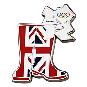 Official London 2012 Olympic Pin Badge - Wellington Boots Union Jack