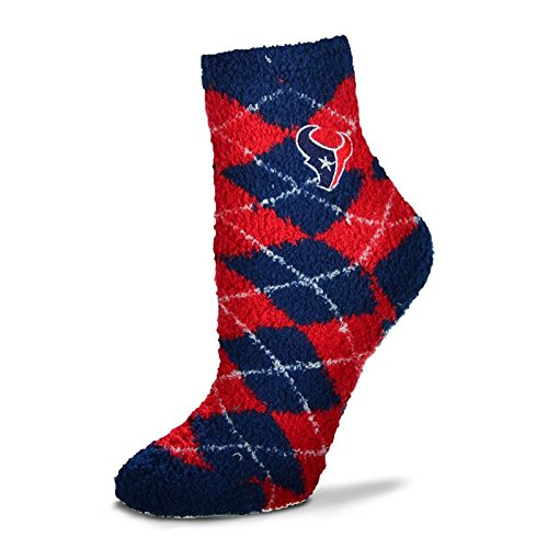 For Bare Feet NFL Argyle Fuzzy Sleep Sock-Medium-Houston Texans