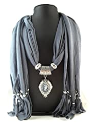 Ammvi Creations Pearl Princess Grey Scarf Necklace For Women