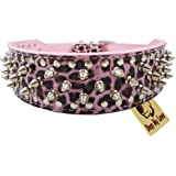 "OrangeTag 17""-20"" Pink Leopard Faux Leather Spiked Studded Dog Collar 2"" Wide, 31 Spike..."