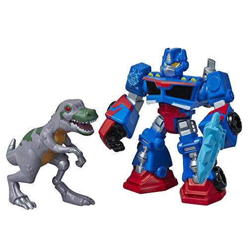 Playskool Heroes Transformers Rescue Bots Optimus Prime and T-Rex Figure Pack - 1