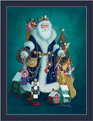 Christmas Past Morgan D Santa Claus Presents Framed Art Print Wall Decor Picture