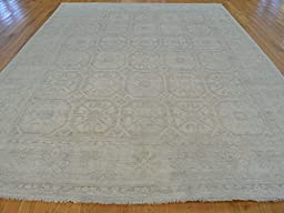 9 x 12 HAND KNOTTED SILVER WASH TAUPE FINE KHOTAN ORIENTAL RUG G20379