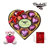 Valentine Chocholik Premium Gifts - Sweet Enchantment Of Wrapped Chocolate With Teddy And Love Card