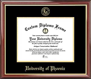 University of Phoenix - Embossed Seal - Mahogany Gold Trim - Diploma Frame