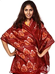 Exotic India Womens Silk Stoles ,Red ,Free Size