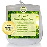 "Best Nut Milk Bag ~ Reusable 12"" x 10"" Fine Mesh Strainer for Almond Milk, Cold Brew Coffee, Juice & Yogurt. Bonus Recipe E-Book."