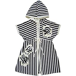 Isobella & Chloe Baby Girls Black White Stripe Flower Accent Tie Cover Up 3M