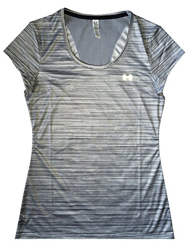 Under Armour Women HeatGear® Flyweight Printed T-Shirt (M, Multi grey stripe)