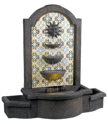 Kenroy Home #50721MD Cascada Indoor/Outdoor Floor Fountain in Madrid Finish with Patterned Tile Motif