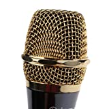 Vktech Unidirectional Professional Dynamic Wired Cable Condenser Microphone for PC Karaoke Music Recording Gold