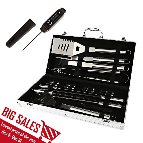 Arctic Monsoon 19 Pieces BBQ Grill Tools Set, Stainless Steel Grilling Utensils Accessories with Carrying Case (Bbq Island Book compare prices)