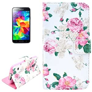 Crazy4Gadget Flowers Pattern Horizontal Flip Leather Case with Holder for Samsung Galaxy S5 mini / G800