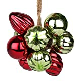 EarthenMetal Handcrafted Multicoloured (Red & Green) Decorative Glass Ball Hanging (10 Ball Set)