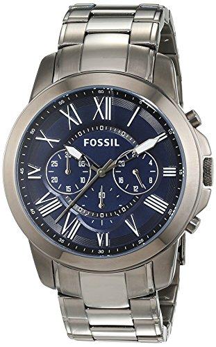 Fossil FS4831 - Reloj cronógrafo de cuarzo para hombre, correa de acero inoxidable color gris (cronómetro)